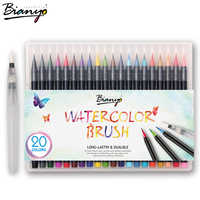 Bianyo 20 Colors Premium Painting Brush Pens Set Soft Flexible Tip Create Watercolor Markers for Manga Comic Calligraphy