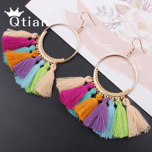 Купить с кэшбэком Qtian Bohemian Handmade Tassel Earrings for Women Ethnic Big Vintage Round Long Drop Earrings Fashion Jewelry Wedding Party