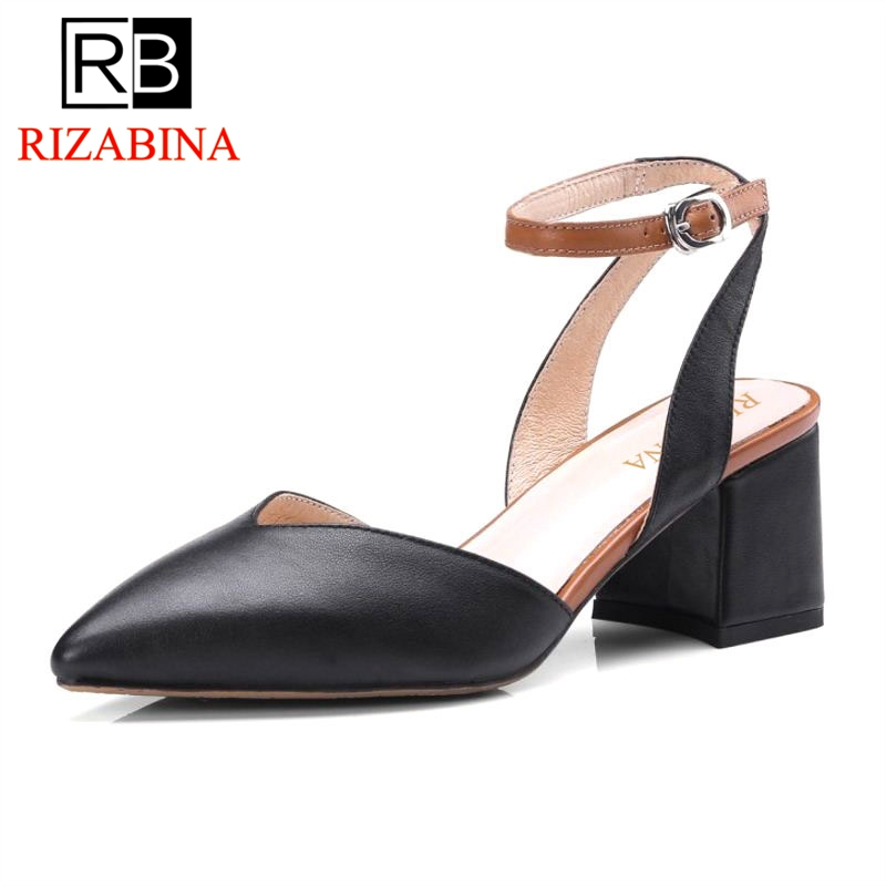 RizaBina Sex Women Real Genuine Leather Thick Heels Sandals Summer Ankle Strap Pointed Toe Sandals Woman Shoes Size 34-39 mmnun 2017 boys sandals genuine leather children sandals closed toe sandals for little and big sport kids summer shoes size26 31