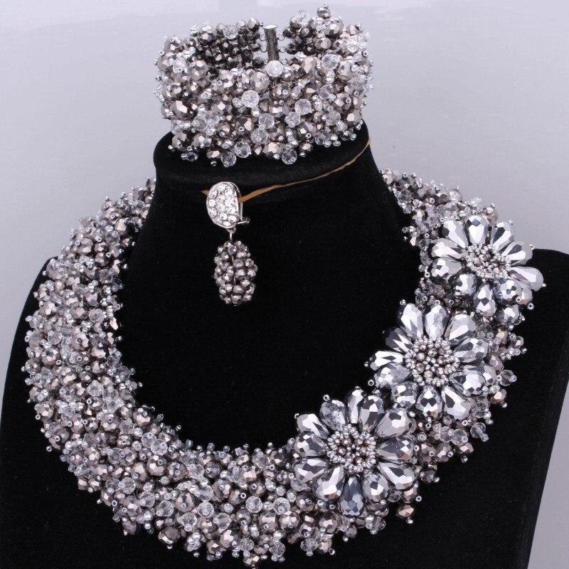 4 ubijoux Dubai beaux ensembles de bijoux en argent Original cristal bijoux ensemble mariée à la main fleurs collier ensemble mariage africain