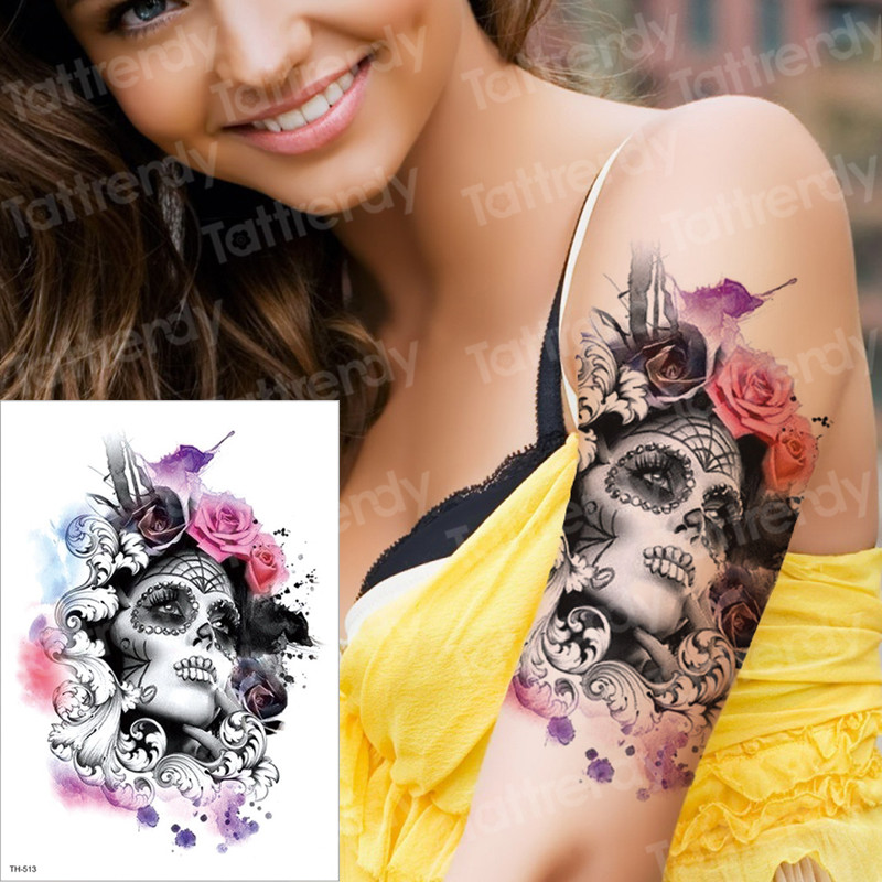 Temporary Tattoo & Body Art Tattoo Sticker Arm Sleeve Tattoo Waterproof Fake Tatoo Men Women Death Skull Halloween Face Tattoo