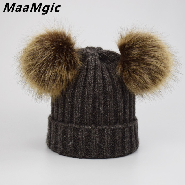 1240fa1b8be 2018 Faux Fur Pompom Hat Women Winter Caps Knitted Wool Cotton Hats Two Pom  Poms Skullies