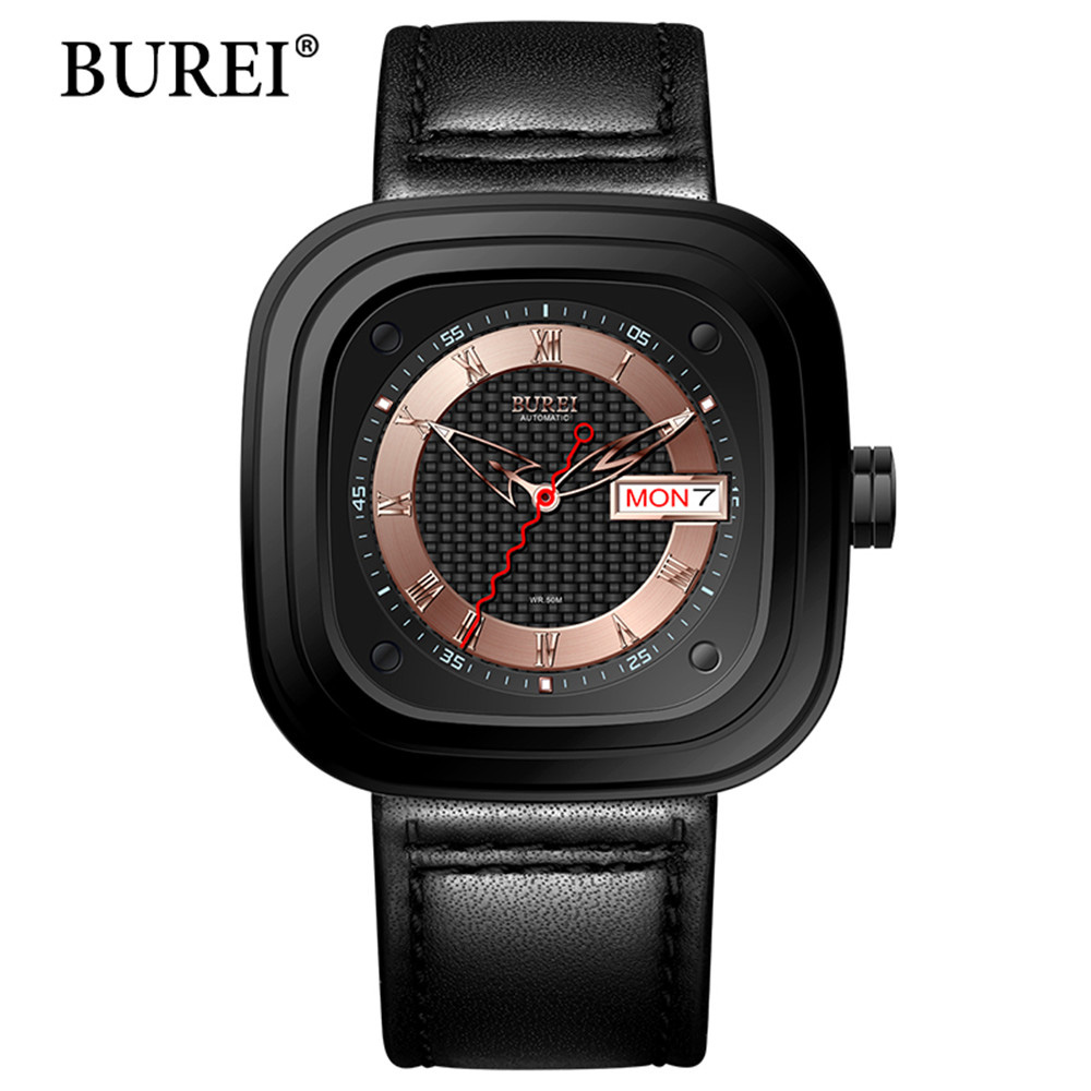Mechanical Mens Watches Top Brand Luxury Male Business Clock BUREI Sapphire Genuine Leather Waterproof 50m Automatic Watch Hot mce top brand mens watches automatic men watch luxury stainless steel wristwatches male clock montre with box 335