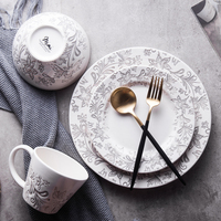 Hand carved Dishes Breakfast Ceramic Steak Fish Breakfast Plate Dishes Home Cake Kid Plate Breakfast Dish Dishes 070