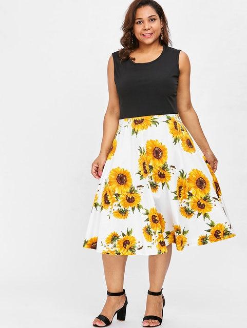 Wipalo Sleeveless Plus Size Sunflower Print Vintage Dress Patchwork Casual  Black Dress Women A Line Floral Midi Dresses 4XL