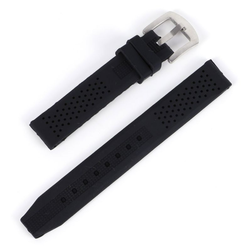 Breathable Silicone Strap 16-24mm Rubber Buckle Watchbands Sport Wrist Watch Band