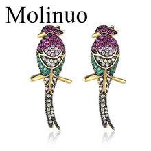 Molinuo exquisite seven-color bird earrings AAA zircon inlaid Korean fashion color female earring charm women jewelry