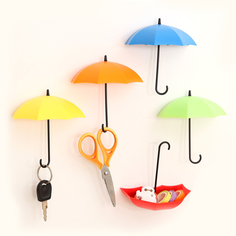 Candy Color Glue Stickers Hat Umbrella Hooks Wall Stickers