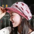 2016 New Arrival Elegant Women Knitted Hats Rabbit Fur Velvet Cap Winter Ladies Female Fashion Skullies Hat Wholesale