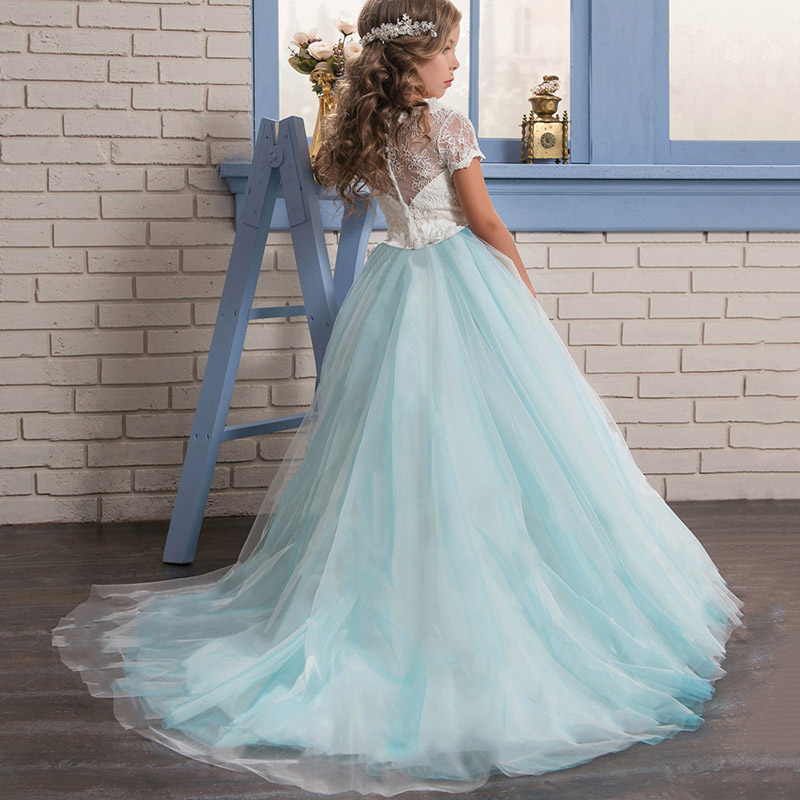 High end   flower   lace evening wedding   girl     dresses   for kids   dress   first communion princess   dress   baby costume children's clothing