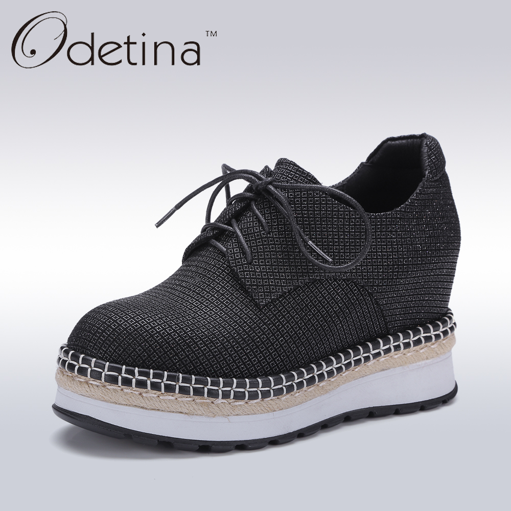 Odetina New Designer Black Lace Up Women Creepers Genuine Leather Women Wedges Platform Shoes 2017 Spring Non-slip Casual Shoes designer women sandals summer creepers platform shoes peep wedges genuine leather slip on chaussure femme