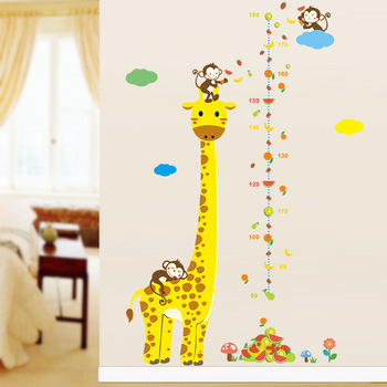 Cartoon Measure Wall Stickers For Kids Rooms Giraffe Monkey Height Chart Ruler Decal-Free Shipping