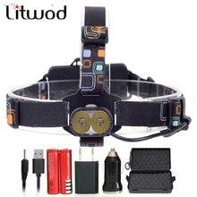 Litwod Z207314 16000лм USB налобный фонарь 2 шт. XM-L T6 светодиодный Перезаряжаемый 18650 налобный фонарь с зарядным устройством