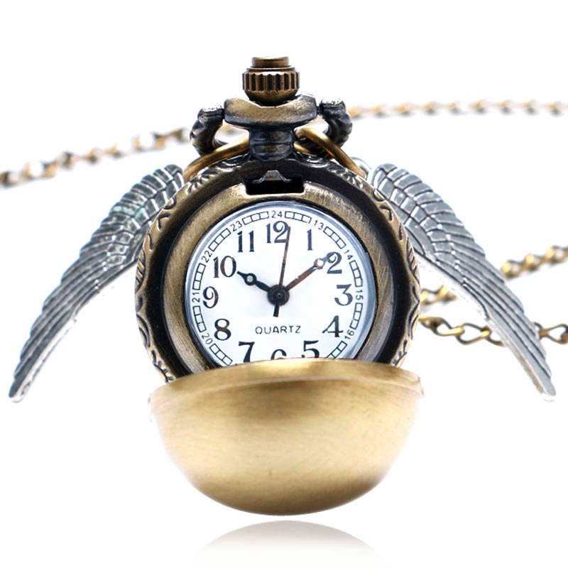 Hot Movie Golden Ball With Wings Theme Fob Pocket Watch With Necklace Chain Gift To Boys Girls