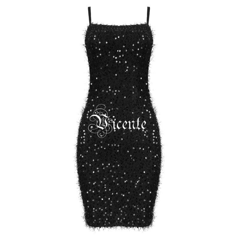 2019 Glands Robe Party Sexy Dos Club Bretelles Noir Retour Nu Mini Nouveau Chic Manches Conception À Vicente Celebrity Paillettes Sans fwtdp1dxq