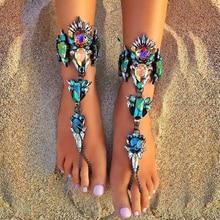 Best lady  2016 Australia Beach Vacation Ankle Bracelet Sandals Sexy Leg Chain Female Boho Crystal Anklet Statement Jewelry 3119