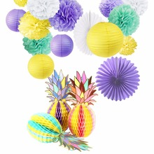 Summer Hawaiian Party Decorations Set 16Pcs  Honeycomb Pineapple Paper Lantern Favors for Birthday Wedding Event Decor