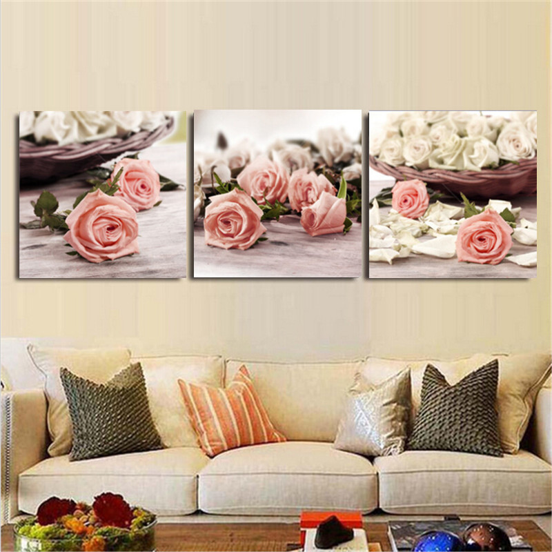 3 Piece Canvas Wall Art Wall Pictures Modern Wall Painting Rose ...