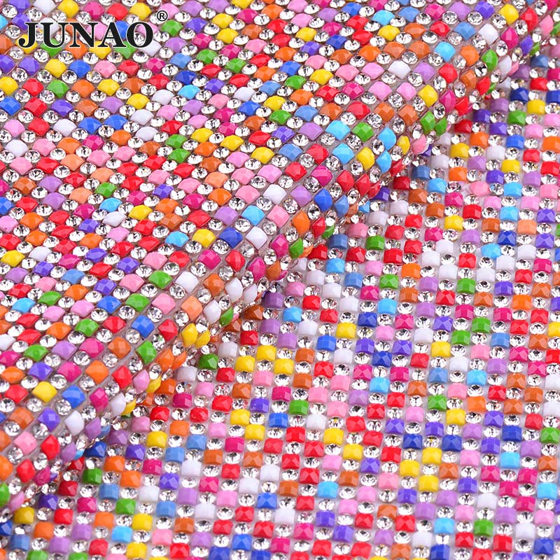JUNAO 24*40 cm Mix Couleur Correctif Strass Tissu Garniture Grille De Verre Résine Cristal Appliques Strass Baguage pour le BRICOLAGE vêtements Bijoux