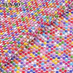 Junao 24*40cm mistura cor hotfix strass tecido guarnição malha de vidro resina cristal apliques strass banding para diy roupas jóias