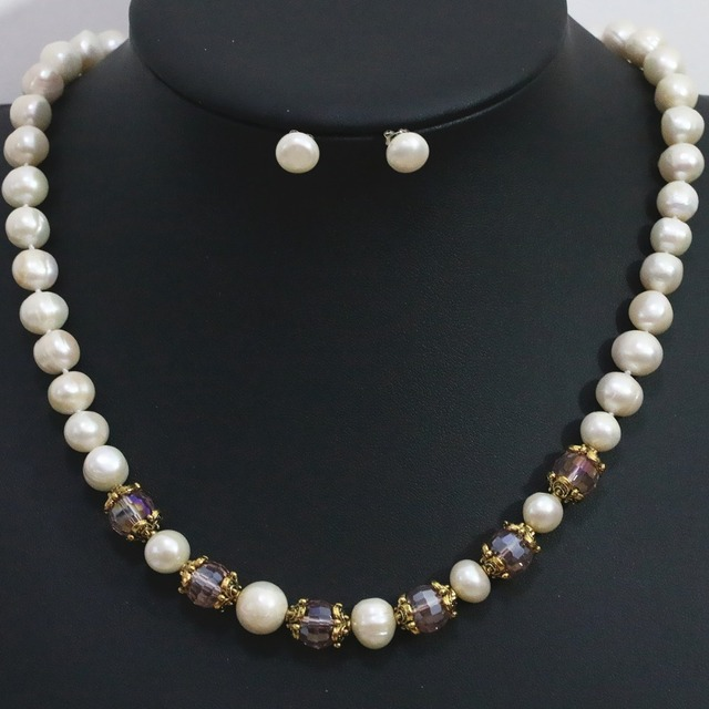 Fashion White Natural Round Freshwater Pearl Necklace Earrings Set