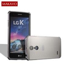 MAKAVO Pour LG K10 2017 Cas 2 DANS 1 Brossé PC Retour couverture En Métal Cadre Dur Logement Pour LG X400 M250 M250N Téléphone Cas Coque