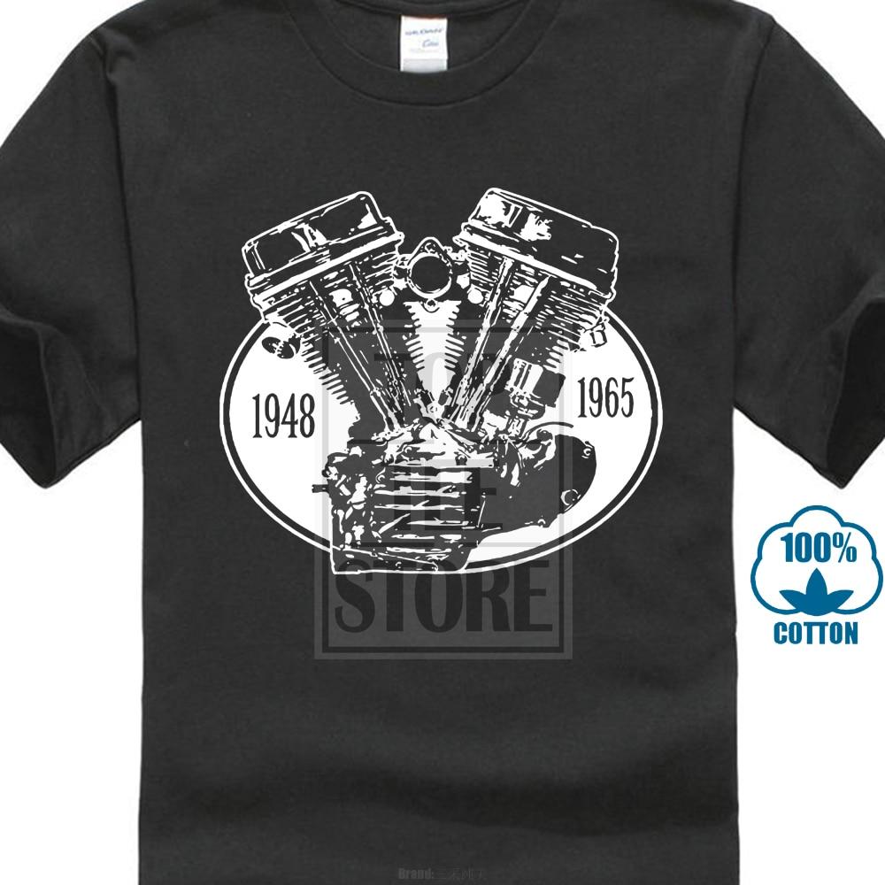 Custom Biker Herren   T     Shirt   Mit Panhead Chopper Motor Motorrad   Shirt