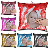 Fuwatacchi Customized Sequin Cushion Cover with Your Image Throw Pillow Case Home Decor For Family Friends Pillowcases 40x40cm
