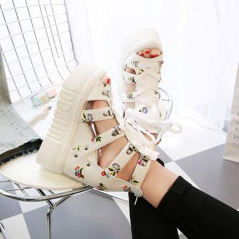 Blanco Nuevo Señoras Encaje Zapatos blanco Plataforma Las Cuero Moda Negro Pu buybea Mujeres Ocasionales Sandalias De A Fiesta Negro 1wxFqRn7