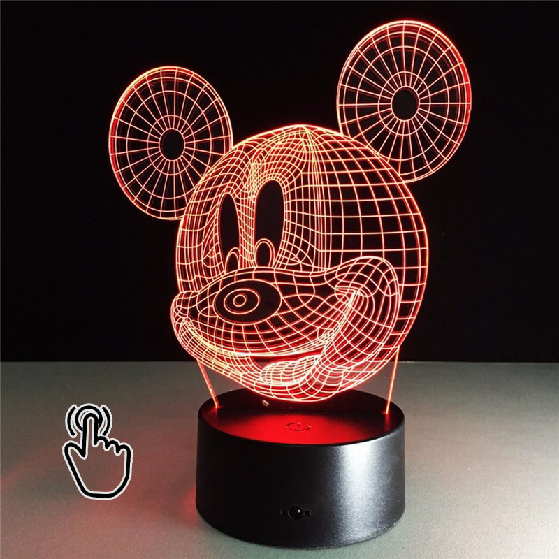 3D LED Light Mickey Cartoon Toy Table Lamp Night Light hologram illusion Holiday Fun Light For Baby Decoration kid Birthday Gift mipow btl300 creative led light bluetooth aromatherapy flameless candle voice control lamp holiday party decoration gift