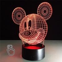 3D LED Light Mickey Cartoon Toy Table Lamp Night Light hologram illusion Holiday Fun Light For Baby Decoration kid Birthday Gift