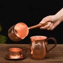 طقم شاي قهوة مصنوع يدويًا من النحاس النقي FeiC إناء قهوة عربي يوناني تركي مع مقبض خشبي لصانع القهوة Ibrik لباريستا