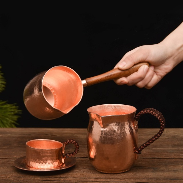 Feic puro cobre artesanal café chá conjunto turco grego árabe cafeteira com alça de madeira cafeteira ibrik para barista