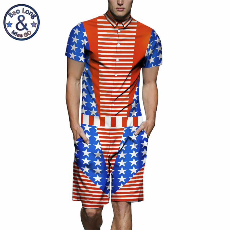 Pants Ingenious Usa Flag 3d Print Star Mens Rompers Short Sleeve Shirt Funny Jumpsuit Playsuit Harem Cargo Overalls Summer One Piece Overalls