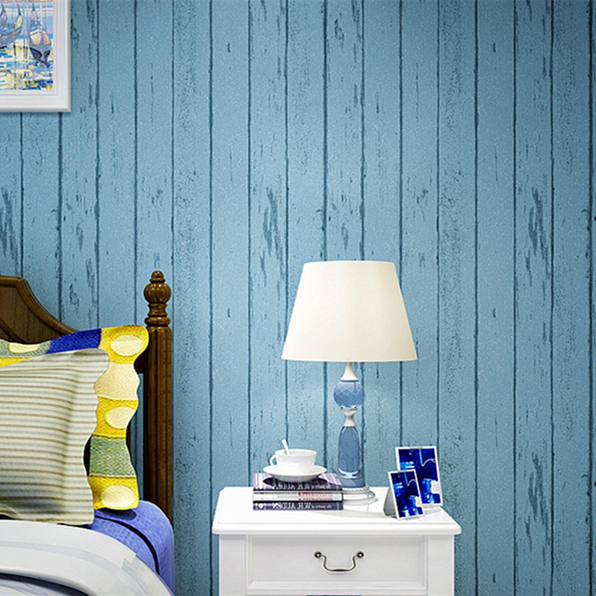 Wallpaper Wood Grain For Walls Blue White Striped Non Woven Bedroom Tv Background Living Room Modern