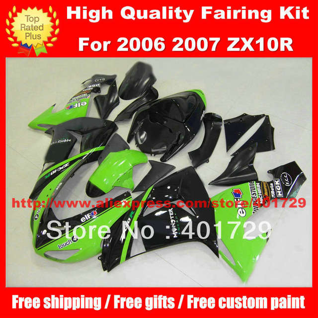 US $345 0 8% OFF|Racing fairing kit for Ninja ZX10R 06 07 ZX 10R 06 07 ZX10  2006 2007 free windshield and heatshield motorcycle body work-in Covers &