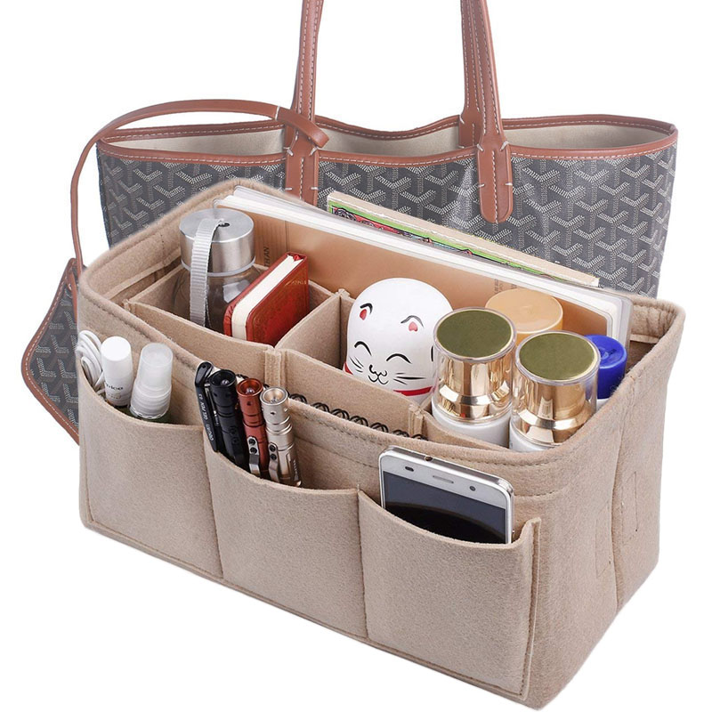 Women Multi-pockets Cosmetic Bags Storage And Personal Belongings Organizer Fashion Felt Cloth Inner Bag Fits In Insert Handbag