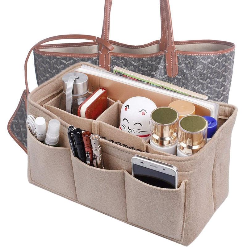 Women Multi-pockets Cosmetic Bags Storage And Personal Belongings Organizer Fashion Felt Cloth Inner Bag Fits In Insert Handbag