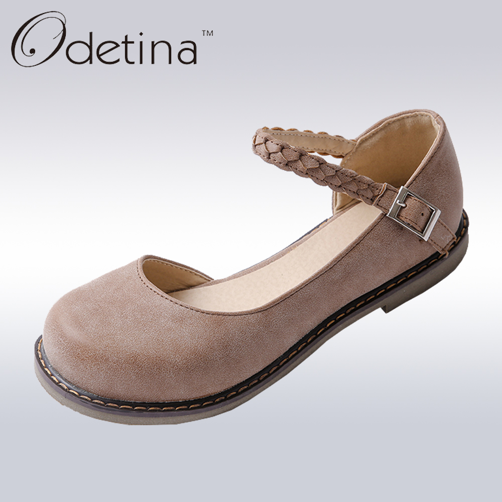 Odetina 2017 New Spring Fashion Mary Janes Womens Round Toe Buckle Strap Vintage Flat Shoes Round Toe Handmade Comfortable Flats odetina 2017 new summer women ankle strap ballet flats buckle hollow out flat shoes pointed toe ladies comfortable casual shoes