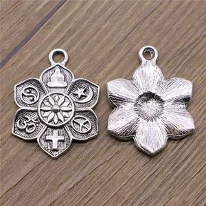 Image 3 - WYSIWYG 2 adet Charms din buda çapraz Om taocu barış İslam antik gümüş renk 28x36mm din takılar