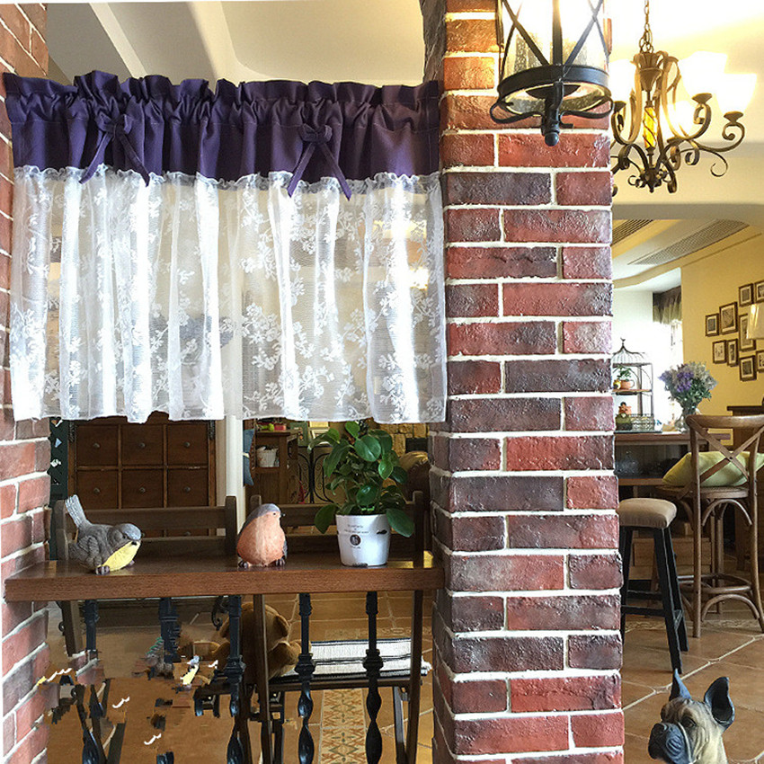 1 Panel 130*60cm Height Country Style Purple Cotton Splice White Lace Yarn Multi-function Decorative Curtain Coffee Curtain