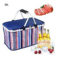 Picnic Basket 32L Large Size Insulated Picnic Basket BBQ Drinks Cooler Bag Collapsible Cooler Basket for Family Outdoor Travel