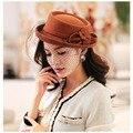 Женщины шерсть Hat-019 / шерсть Fedoras / 2014 мода Desigual шапки и шапки / осень и зима винтаж шляпы для женщин