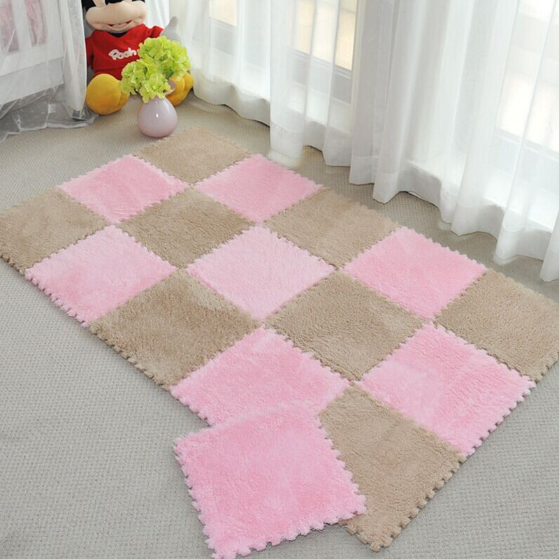 Long Fur Hair Puzzle Foam Floor Mat,pad;baby Crawling Cutting Area Rug,play Carpet 30*30cm for Child,kid Living Room,bedroom