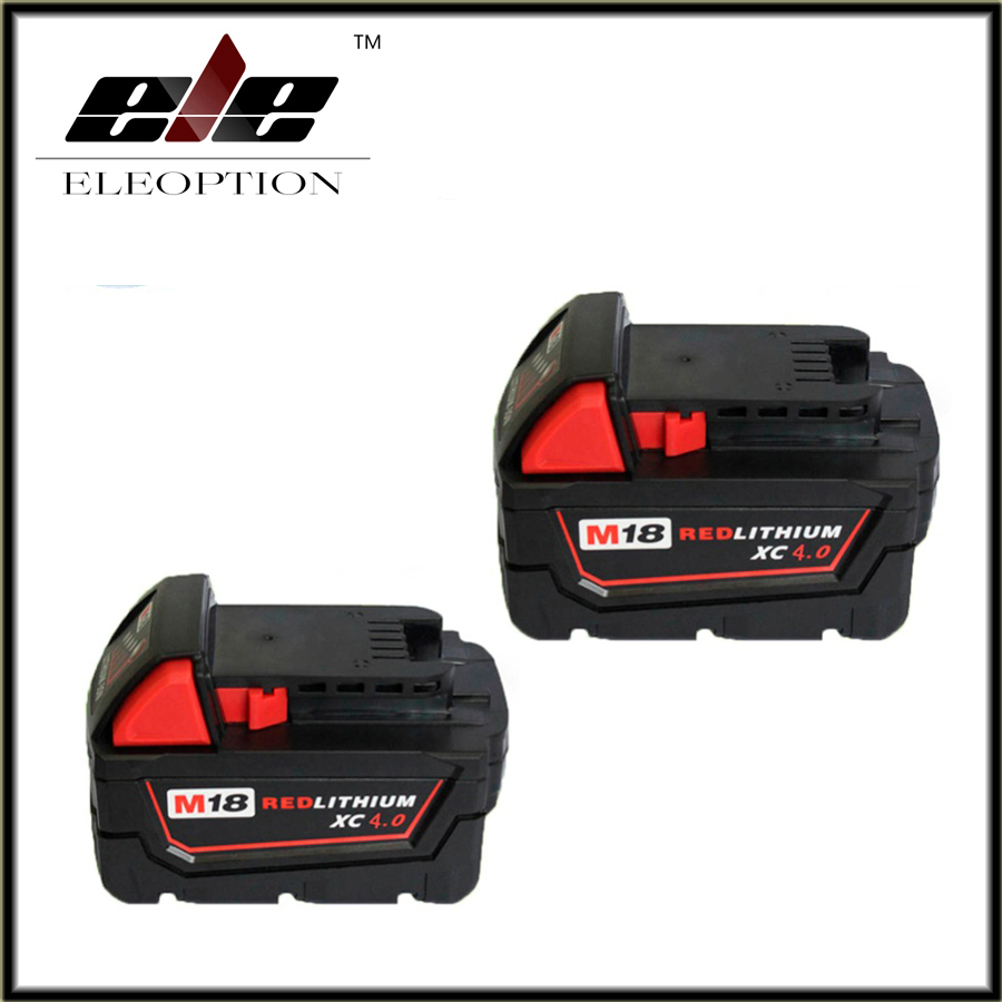 Eleoption 2x Hot Li-Ion 18V 4.0AH 4000mAh Replacement Power Tool Battery for Milwaukee M18 XC 48-11-1815 M18B2 M18B4 M18BX Li18 eleoption 2pcs 18v 3000mah li ion power tools battery for hitachi drill bcl1815 bcl1830 ebm1830 327730