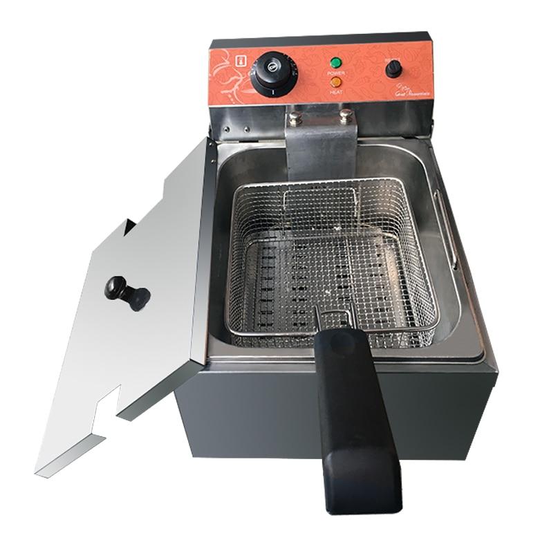 Купить с кэшбэком HOT SALE ES-101SP Electric fryer single basket deep fryer Single cylinder French fries machine thick Stainless Steel