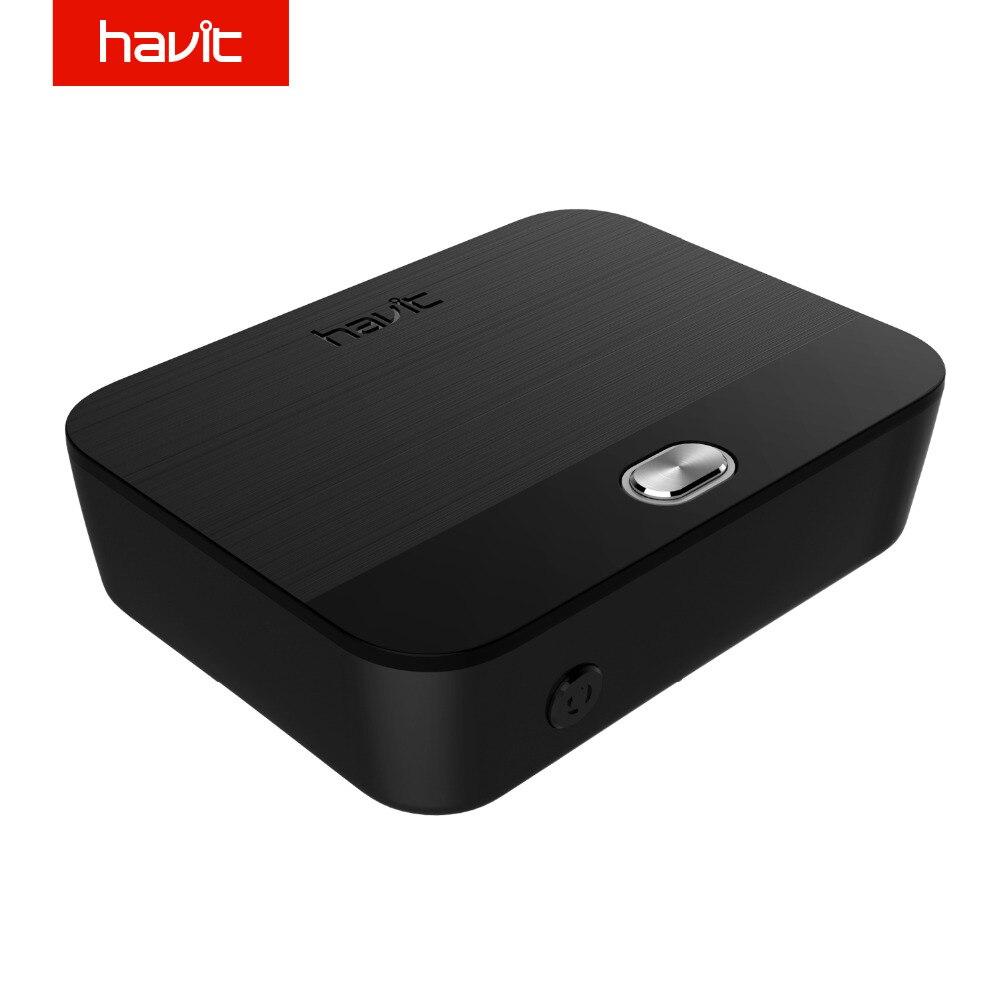 HAVIT 3.5mm Bluetooth Adaptateur Audio Émetteur Récepteur 2-en-1 V4.1 Sans Fil Bluetooth Dongle aptX Faible Latence Numérique HV-BT022