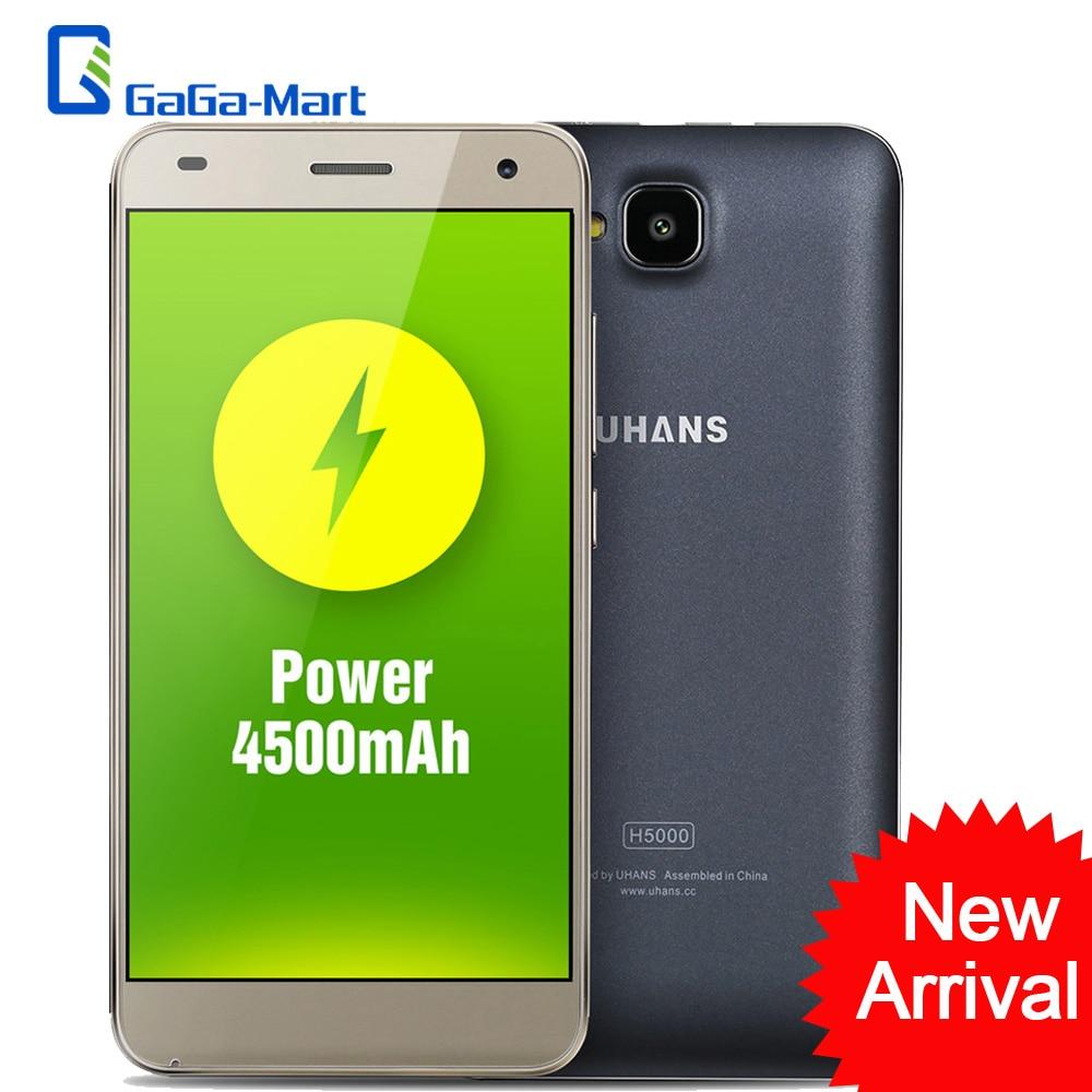 "bilder für 4500 mAh UHANS H5000 Smartphone Android 6.0 MTK6737 64-bit Quad Core 3G + 32G 5MP + 8MP 1280*720 P 5,0 ""zoll HD 4G LTE Handy"