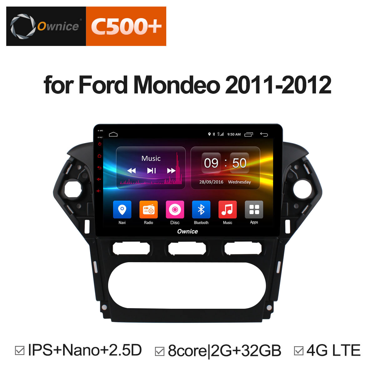 Ownice 10.1 C500 + G10 Octa base Android 8.1 2 gb RAM Voiture DVD GPS Navi Radio Pour Ford mondeo 2011-2012 Headunit Stéréo 4g LTE