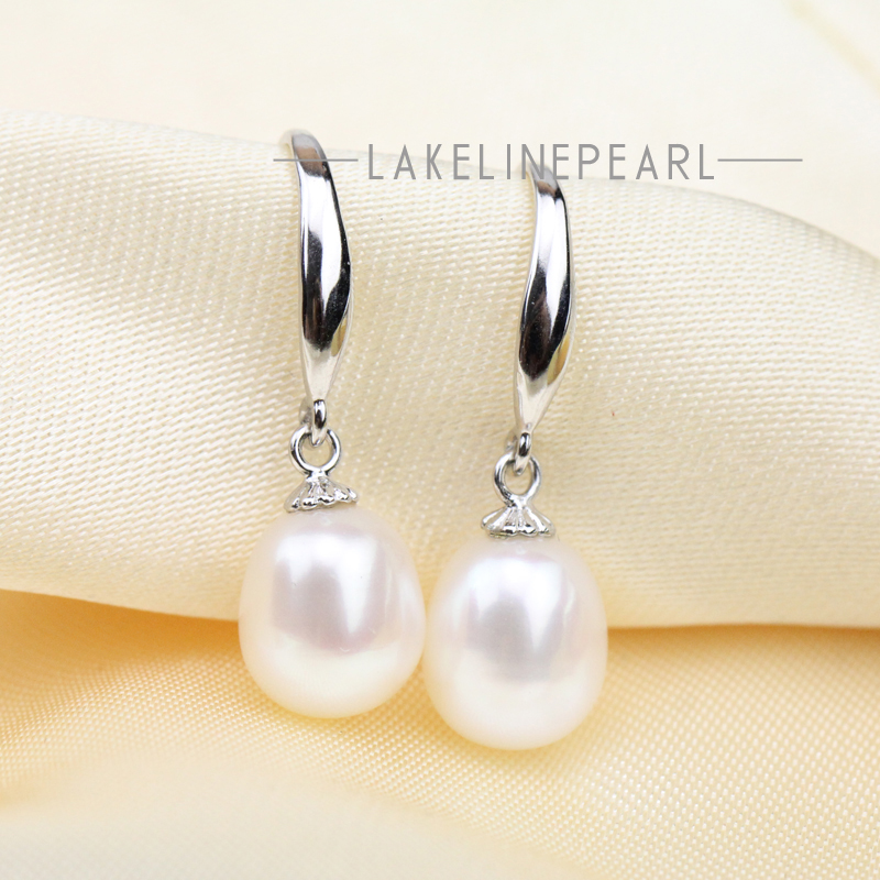Drop Pearl Earrings Women Ivory White Freshwater Hook High Quality Jewelry 8mm Oval Pearls Earring In From